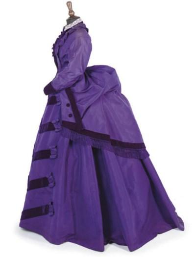 A PURPLE SILK DRESS, EARLY 187