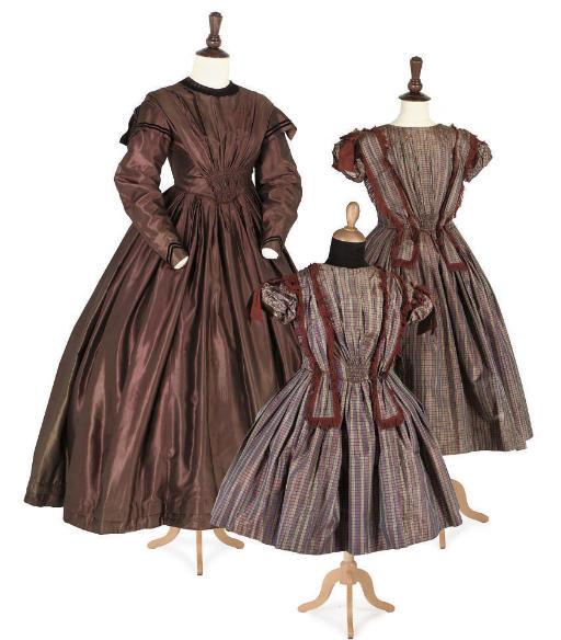 THREE DRESSES, MID 19TH CENTUR