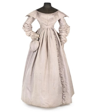 A DOVE GREY MOIRE DAY DRESS WI