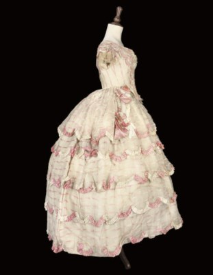 A BALL GOWN OF PINK AND WHITE