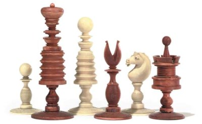 AN ENGLISH IVORY PLAYING CHESS