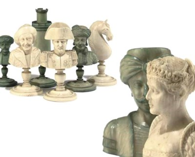 A FRENCH CARVED IVORY BUST TYP