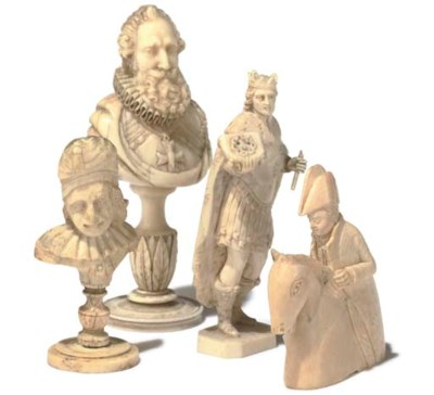 A FRENCH CARVED IVORY CHESS PI