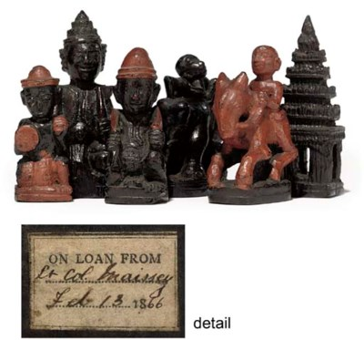 A BURMESE LACQUERED WOOD CHESS