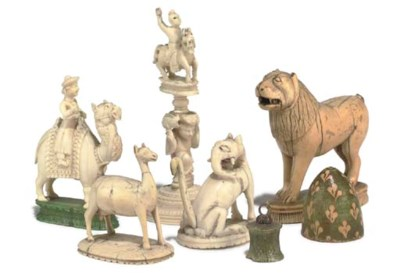 A GROUP OF THREE INDIAN CARVED