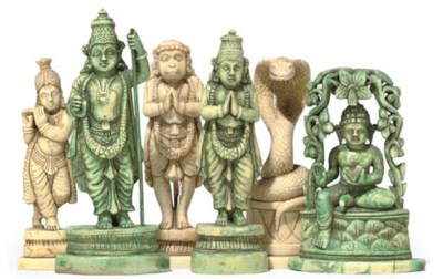 AN INDIAN CARVED IVORY 'HINDU'