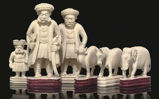 AN INDIAN IVORY FIGURAL CHESS