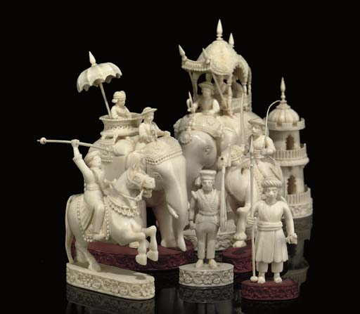 AN ANGLO-INDIAN CARVED IVORY '