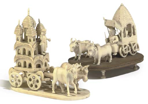 TWO ANGLO-INDIAN CARVED IVORY
