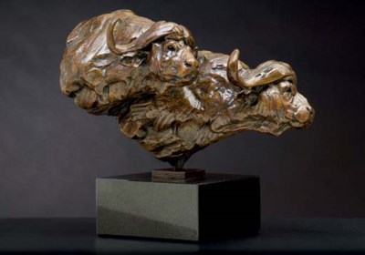 Two Buffalo Heads Maquette