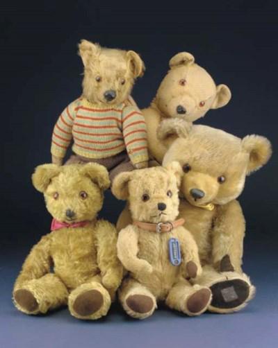 Five Post-war British teddy be