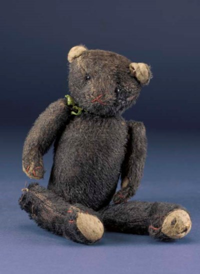 An unusual black mohair teddy