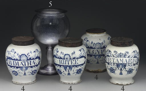 FOUR ENGLISH DELFT BLUE AND WH