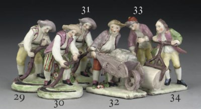 A CHELSEA MINIATURE FIGURE OF
