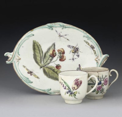 A DERBY OVAL DISH AND TWO ENGL