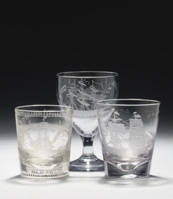 AN ENGRAVED RUMMER AND TWO TUM