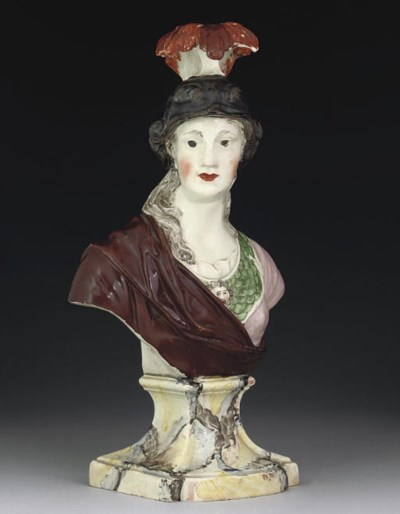 AN ENGLISH PEARLWARE BUST OF M