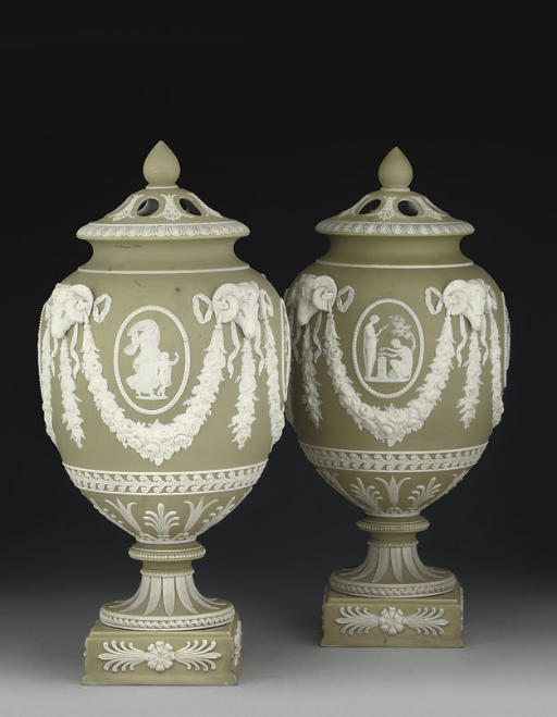 A PAIR OF WEDGWOOD SAGE-GREEN