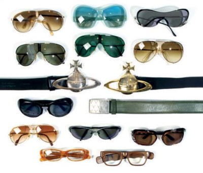 COLLECTION OF SUNGLASSES, BELT