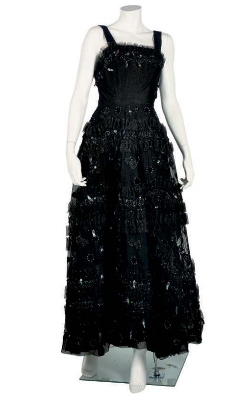 FONTANA, A BLACK LACE BALL GOWN, 1950S