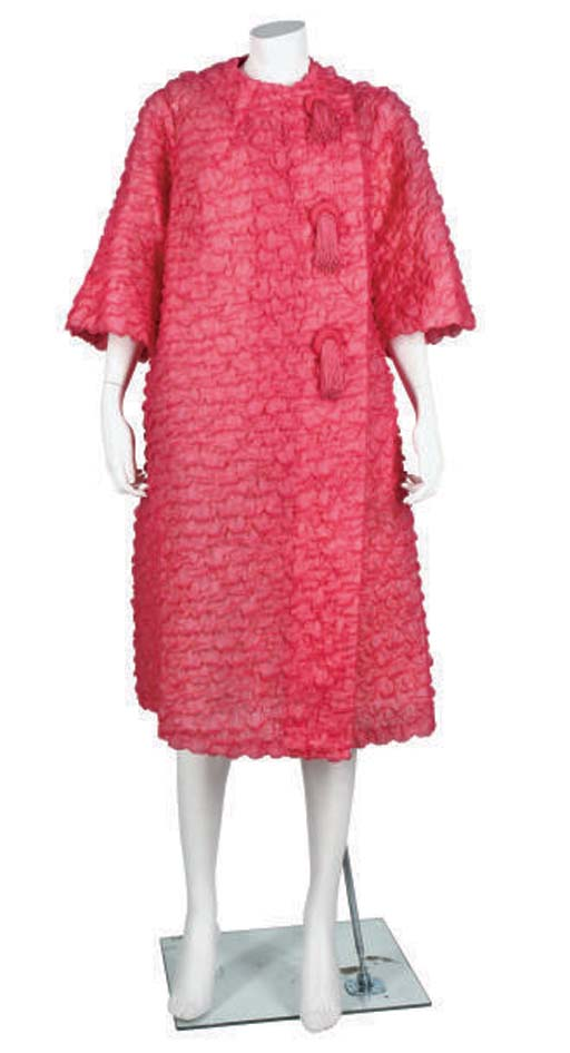 PINK RUCHED COCKTAIL COAT
