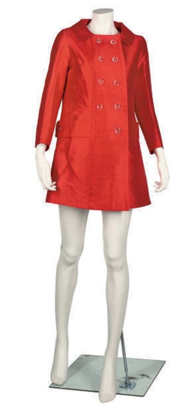 LOUIS FERRAUD RED SILK DRESS A