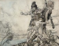 The giants Fasolt and Fafner abducting Freia, goddess of love, from Das Rheingold by Wagner, Scene II