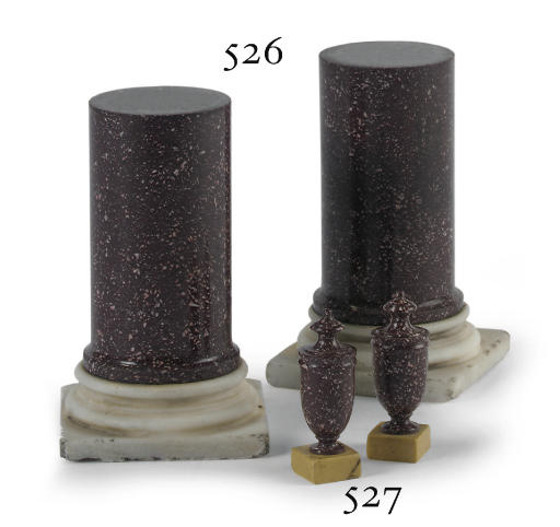 A PAIR OF ITALIAN PORPHYRY AND