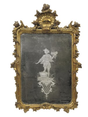 AN ITALIAN GILTWOOD LOOKING GL