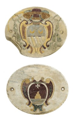 A PAIR OF ITALIAN INLAID MARBL