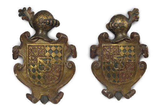 A PAIR OF GILTWOOD ARMORIAL PA