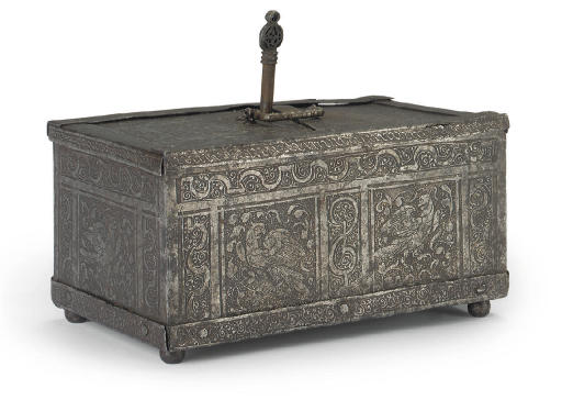 A GERMAN ETCHED STEEL CASKET