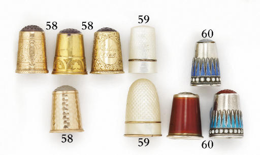 Four Norwegian 14ct. gold thimbles