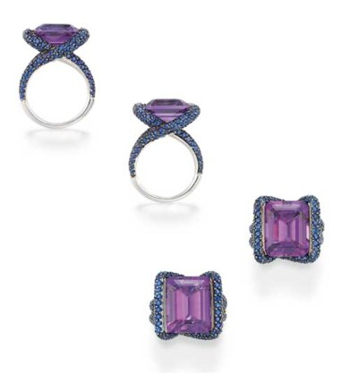 A PAIR OF AMETHYST AND SAPPHIR