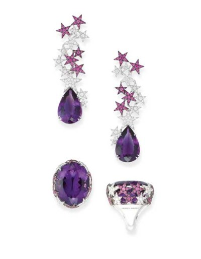 A PAIR OF AMETHYST, PINK SAPPH