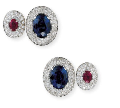 A PAIR OF SAPPHIRE, RUBY AND D