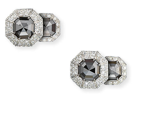 A PAIR OF COLOURED DIAMOND AND
