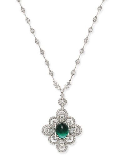 AN EMERALD AND DIAMOND PENDENT