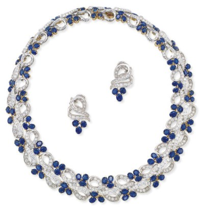 A SAPPHIRE AND DIAMOND SET, BY
