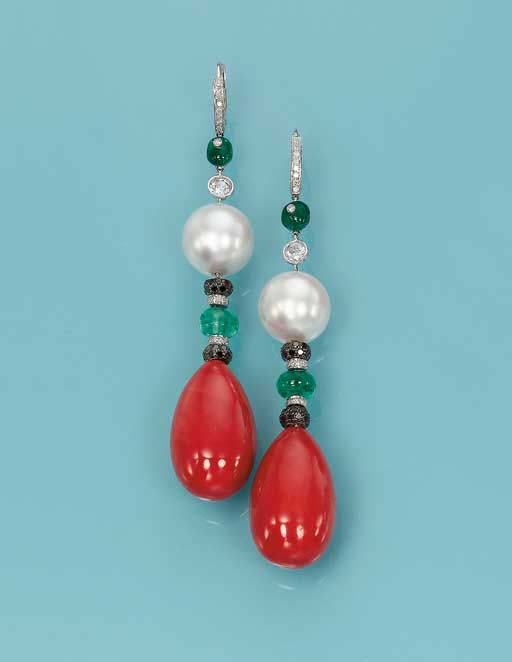 A PAIR OF CORAL, CULTURED PEARL AND GEM-SET EAR PENDANTS, BY MICHELE DELLA VALLE