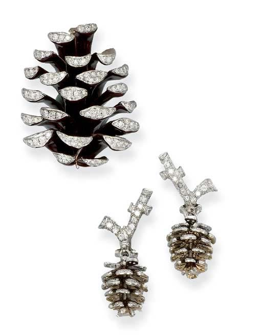 A DIAMOND AND ENAMEL 'PINE CON