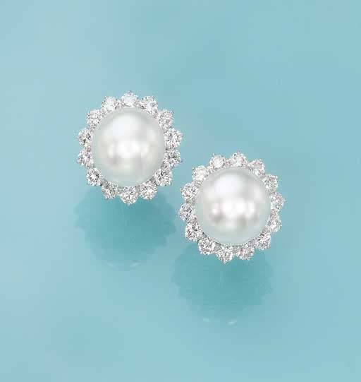 A PAIR OF SOUTH SEA CULTURED PEARL AND DIAMOND EAR CLIPS