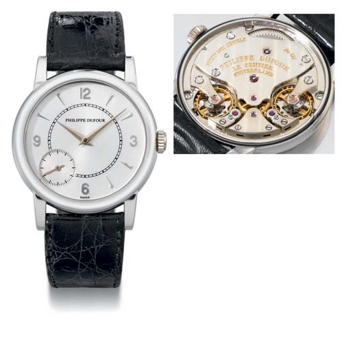 Philippe Dufour. A very fine and rare platinum double regulator wristwatch with eccentric subsidiary seconds
