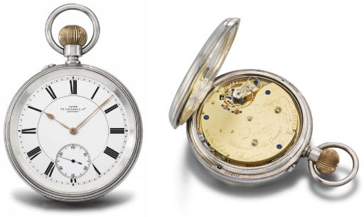 Dent. A very fine, large and rare silver openface two train quarter repeating grande and petite sonnerie keywound and keyless lever clock watch