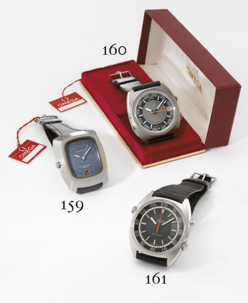 Omega. An unusual and large stainless steel tonneau-shaped water-resistant stop-seconds dual time chronograph wristwatch