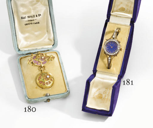 Haas Neveux. A fine and unusual 18K gold, plique-a-jour enamel and pearl-set Art Deco pendant watch with brooch and box