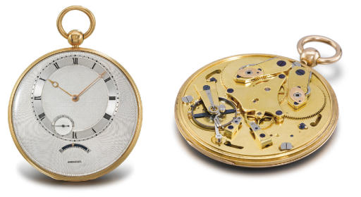 """Breguet. An extremely fine, large and rare 18K gold openface """"montre simple"""" lever watch with two barrels, made on the principles of the """"garde temps"""""""