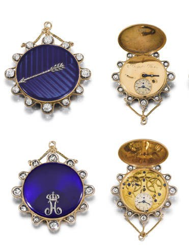 An outstandingly fine, rare and historical important 18K gold, enamel and diamond-set hunter case petite souscription à tact watch, made for Josephine Bonaparte, Empress of France, and given to Hortense de Beauharnais, 1800. Watch diameter of 39  mm, overall diameter 52  mm. Sold for CHF 1,505,000 on 12 November 2007 at Christie's in Geneva