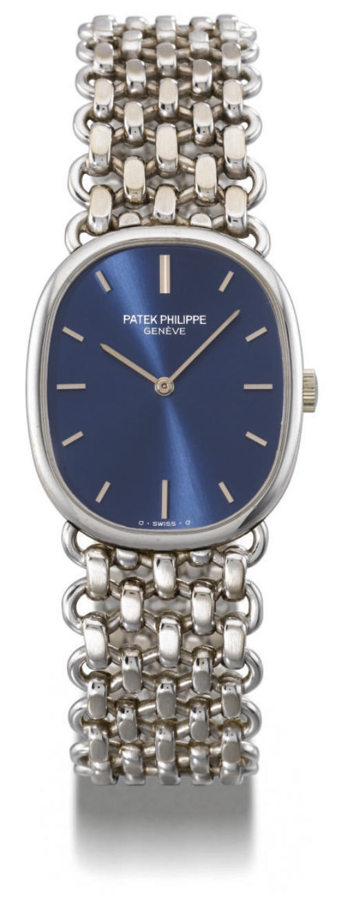 Patek Philippe. A fine 18K white gold oval wristwatch with bracelet