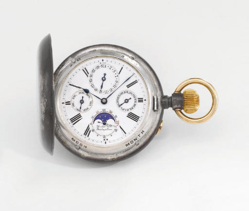 Marcks & Co. An unusual and rare nielloed silver and gold hunter case two train 8-day full calendar keyless lever watch with phases of the moon and Paillard patent palladium spring